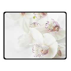 Orchids Flowers White Background Double Sided Fleece Blanket (Small)