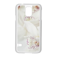 Orchids Flowers White Background Samsung Galaxy S5 Case (white)