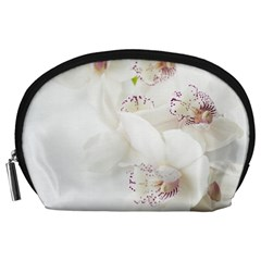 Orchids Flowers White Background Accessory Pouches (large)
