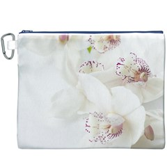 Orchids Flowers White Background Canvas Cosmetic Bag (XXXL)