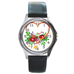 Heart Flowers Sign Round Metal Watch