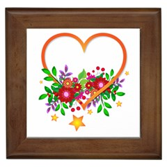 Heart Flowers Sign Framed Tiles