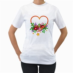 Heart Flowers Sign Women s T Shirt (white) (two Sided)