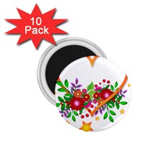 Heart Flowers Sign 1 75  Magnets (10 Pack)