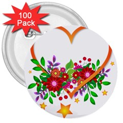 Heart Flowers Sign 3  Buttons (100 Pack)