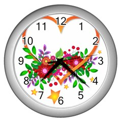 Heart Flowers Sign Wall Clocks (silver)