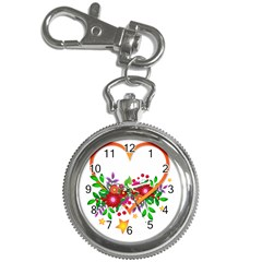Heart Flowers Sign Key Chain Watches