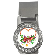 Heart Flowers Sign Money Clips (cz)