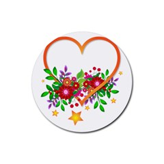 Heart Flowers Sign Rubber Round Coaster (4 Pack)