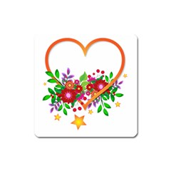 Heart Flowers Sign Square Magnet