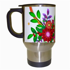 Heart Flowers Sign Travel Mugs (white)