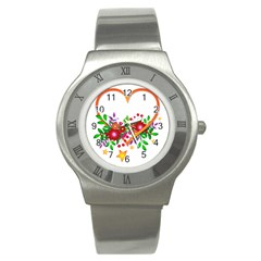 Heart Flowers Sign Stainless Steel Watch