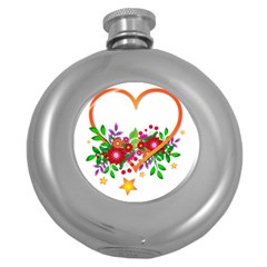 Heart Flowers Sign Round Hip Flask (5 Oz)