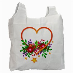 Heart Flowers Sign Recycle Bag (one Side)