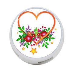Heart Flowers Sign 4 Port Usb Hub (two Sides)