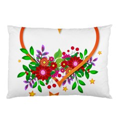 Heart Flowers Sign Pillow Case (two Sides)