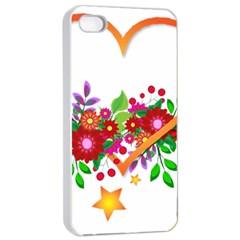 Heart Flowers Sign Apple Iphone 4/4s Seamless Case (white)