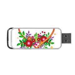 Heart Flowers Sign Portable USB Flash (One Side)