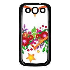 Heart Flowers Sign Samsung Galaxy S3 Back Case (black)