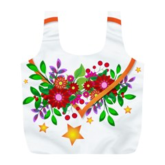 Heart Flowers Sign Full Print Recycle Bags (l)