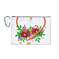 Heart Flowers Sign Canvas Cosmetic Bag (m)