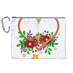 Heart Flowers Sign Canvas Cosmetic Bag (xl)