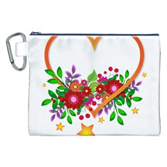 Heart Flowers Sign Canvas Cosmetic Bag (xxl)