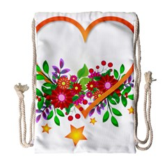 Heart Flowers Sign Drawstring Bag (large)
