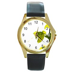 Leaves Nature Round Gold Metal Watch