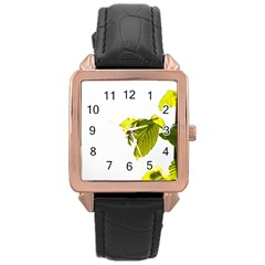 Leaves Nature Rose Gold Leather Watch