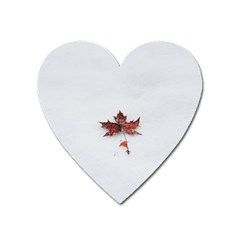 Winter Maple Minimalist Simple Heart Magnet