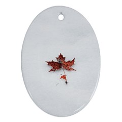 Winter Maple Minimalist Simple Oval Ornament (two Sides)