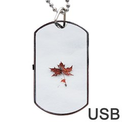 Winter Maple Minimalist Simple Dog Tag Usb Flash (two Sides)