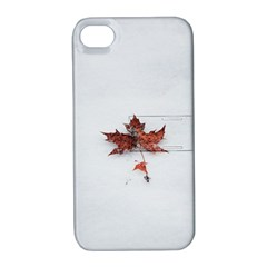 Winter Maple Minimalist Simple Apple iPhone 4/4S Hardshell Case with Stand