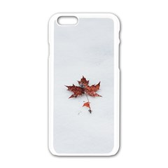 Winter Maple Minimalist Simple Apple iPhone 6/6S White Enamel Case