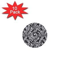 Gray Scale Pattern Tile Design 1  Mini Buttons (10 Pack)