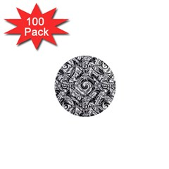 Gray Scale Pattern Tile Design 1  Mini Magnets (100 Pack)