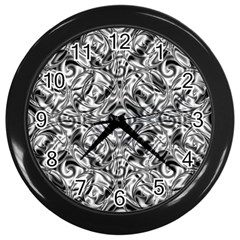 Gray Scale Pattern Tile Design Wall Clocks (Black)