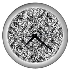 Gray Scale Pattern Tile Design Wall Clocks (Silver)