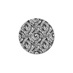 Gray Scale Pattern Tile Design Golf Ball Marker