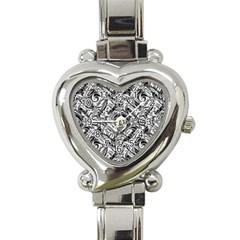 Gray Scale Pattern Tile Design Heart Italian Charm Watch