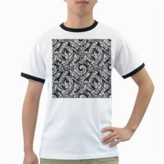 Gray Scale Pattern Tile Design Ringer T Shirts