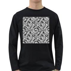 Gray Scale Pattern Tile Design Long Sleeve Dark T Shirts