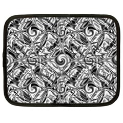 Gray Scale Pattern Tile Design Netbook Case (large)