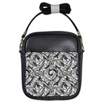 Gray Scale Pattern Tile Design Girls Sling Bags Front