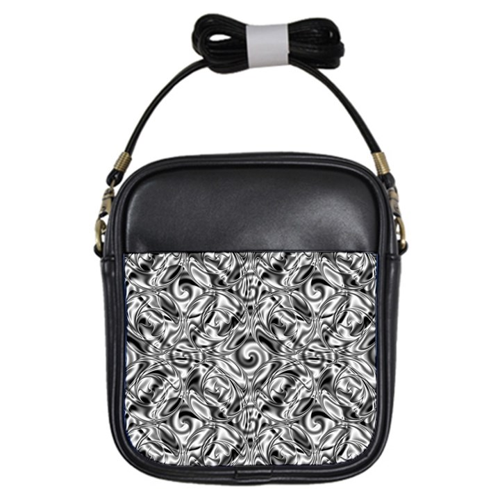 Gray Scale Pattern Tile Design Girls Sling Bags