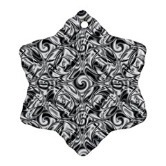 Gray Scale Pattern Tile Design Snowflake Ornament (Two Sides)