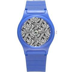 Gray Scale Pattern Tile Design Round Plastic Sport Watch (s)