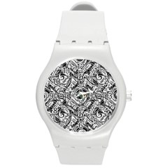 Gray Scale Pattern Tile Design Round Plastic Sport Watch (m)