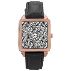 Gray Scale Pattern Tile Design Rose Gold Leather Watch